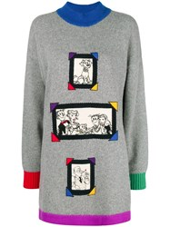 Jc De Castelbajac Vintage Cartoon Patches Loose Fit Jumper Grey