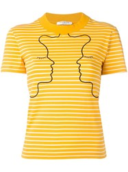 Vivetta Embroidered Striped T Shirt Yellow Orange