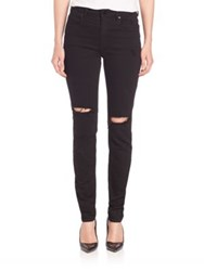 Alexander Wang Distressed Slim Fit Jeans Black Destroyed