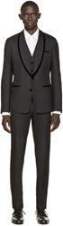 Dolce And Gabbana Black Velvet Trim Three Piece Tuxedo