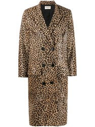 Zadig And Voltaire Leopard Print Double Breasted Coat Neutrals