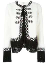 Talitha Embroidered Fringed Jacket White