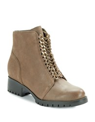 Karl Lagerfeld Bernice Chainlink Accented Ankle Boots Dark Taupe