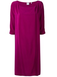 Aspesi Short Sleeved Dress Women Silk 42 Pink Purple