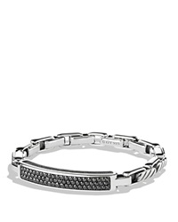 David Yurman Modern Cable Id Bracelet With Black Diamonds Silver Black