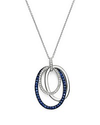 Bloomingdale's Sapphire And Diamond Oval Pendant Necklace In 14K White Gold 18 White Blue