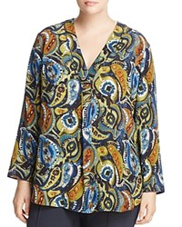 Lafayette 148 New York Plus Libby Paisley Print Blouse Galaxy Blue Multi