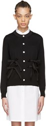 Tricot Comme Des Garcons Black Wool Bow Cardigan