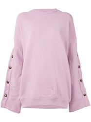 Y Project Buttoned Sleeves Sweatshirt Women Cotton Spandex Elastane Xxs Pink Purple