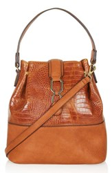 Topshop Embossed Faux Leather Bucket Bag