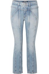 Adaptation Rider Cropped Paneled High Rise Skinny Jeans Mid Denim