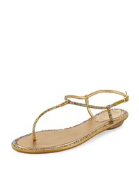 Rene Caovilla Jeweled Satin Flat Thong Sandal Multi