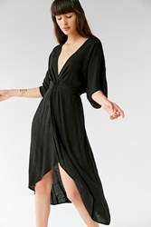 Urban Outfitters Uo Twist Front Plunging Midi Dress Black