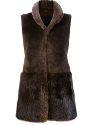 Co High Neck Vest Brown