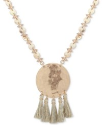 Lonna And Lilly Gold Tone Beaded Disc Tassel Pendant Necklace 32 3 Extender