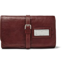 Brunello Cucinelli Leather Hanging Wash Bag Brown