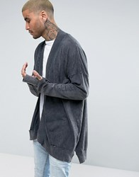 New Look Cardigan With Rip Detail In Washed Stone Dark Grey