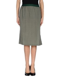 Siyu Knee Length Skirts Dark Green