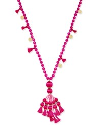 Kate Spade New York 12K Gold Plated Bead And Tassel Pendant Necklace Pink