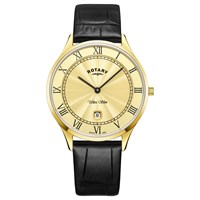 Rotary Gs08303 03 Men's Ultra Slim Date Leather Strap Watch Black Gold