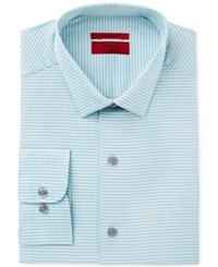 Alfani Red Men's Fitted Performance Turquoise Fine Gingham Dress Shirt Only At Macy's