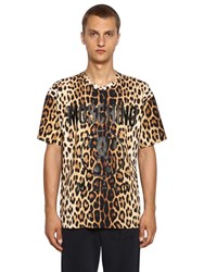 Moschino Leo And Logo Print Cotton Jersey T Shirt Multicolor
