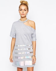 The Ragged Priest T Shirt Dress With Cut Out Cold Shoulder And Holographic Stripe Grey