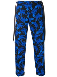 Christian Pellizzari Printed Cropped Trousers Blue