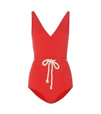 Lisa Marie Fernandez Yasmin Drawstring Swimsuit Red