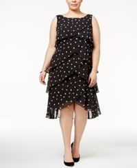 Si Fashions Sl Plus Size Tiered Polka Dot Dress Black White