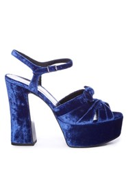 Saint Laurent Candy Bow Detail Velvet Platform Sandals Blue