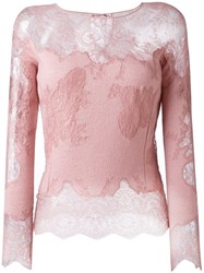 Ermanno Scervino Lace Longsleeved Blouse Pink And Purple