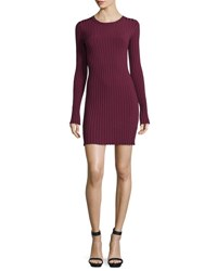 Elizabeth And James Penny Long Sleeve Ribbed Bodycon Dress Bordeaux