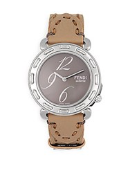 Fendi Timepieces Sapphire Crystal And Stainless Steel Leather Strap Watch Pewter