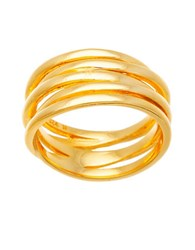 Lord And Taylor 18K Gold And Sterling Silver Crossover Rope Ring