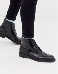 Ted Baker Twrehs Brogue Boots In Black Hi Shine