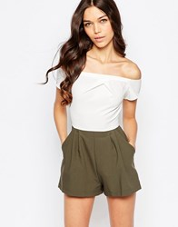 Love Cold Shoulder Playsuit In Colourblock Kahki Ivory Green