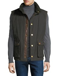 Stefano Ricci Waxed Cotton Gilet Vest With Leather Trim Green