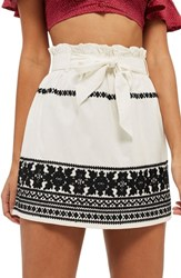Topshop Culture Embroidered Paperbag Skirt