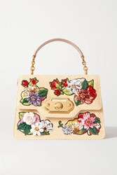 Dolce And Gabbana Welcome Embellished Embroidered Raffia Leather Tote Beige