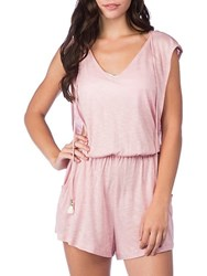 Lucky Brand Solid Attitude Hooded Romper Mauve