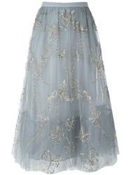 Valentino Butterfly Embroidered Tulle Skirt Grey