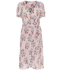 Velvet Meadow Floral Midi Dress Pink
