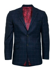 Raging Bull Men's Tweed Overcheck Blazer Navy