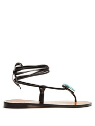 Kalmar Stone Embellished Leather Sandals Black Blue