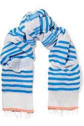 Lemlem Zare Striped Cotton Blend Gauze Scarf Blue