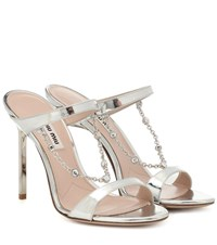 Miu Miu Embellished Metallic Leather Sandals