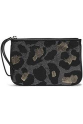 Marc By Marc Jacobs Metallic Leopard Print Woven Clutch Gray