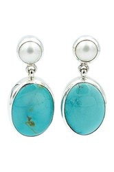 Exex Design Jewelry Sterling Silver Hayden 6Mm Natural Pearl And Turquoise Earrings Blue