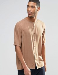 Asos Collarless Shirt In Camel With Half Sleeve In Regular Fit Stone Brown